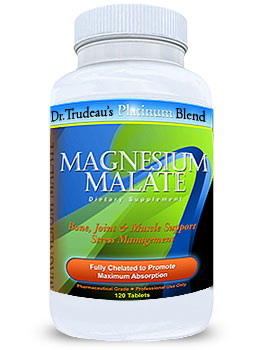 Photo of Designs for Health Magnesium Malate Chelate under our private label Dr. Trudeau's Platinum Blend as found at gfchiro.com